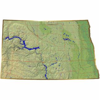 Llavero del mapa de Dakota del Norte cortado Llavero Fotográfico