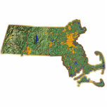 Llavero del mapa de Massachusetts cortado Escultura Fotografica