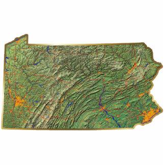 Llavero del mapa de Pennsylvania cortado Esculturas Fotograficas