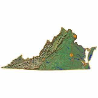 Llavero del mapa de Virginia cortado Llavero Fotográfico