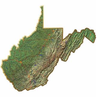 Llavero del mapa de Virginia Occidental cortado Esculturas Fotográficas