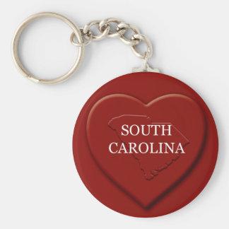 Llavero del mapa del corazón de Carolina del Sur