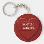 Llavero del mapa del corazón de Dakota del Sur