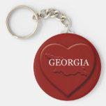 Llavero del mapa del corazón de Georgia