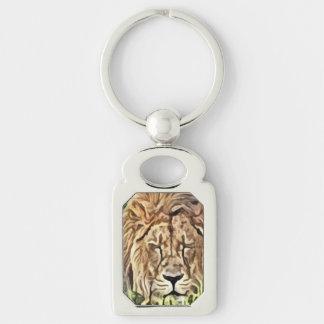 Llavero del metal de la pintura del león el dormir llavero plateado rectangular