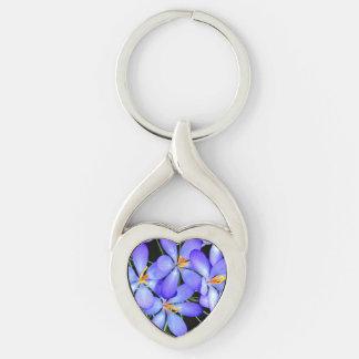 Llavero del metal de las flores llavero plateado en forma de corazón