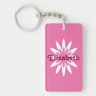 Llavero del monograma de la flor rosada y blanca