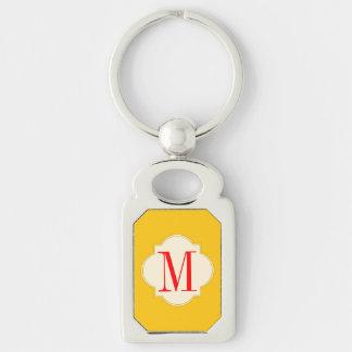 llavero del monograma del oro amarillo llavero plateado rectangular