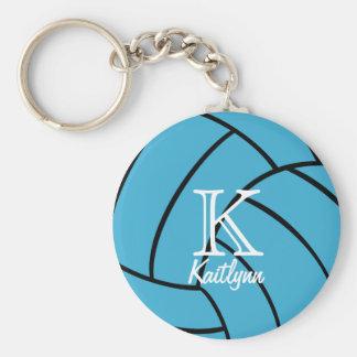 Llavero del monograma del voleibol de la turquesa
