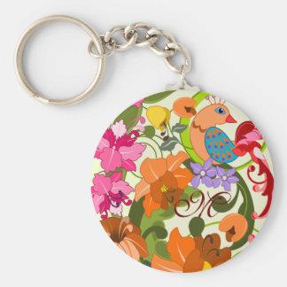Llavero del monograma pájaro y de las flores tropi