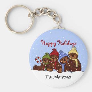 Llavero del navidad de la familia del oso