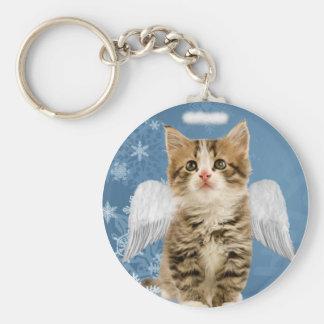 Llavero del navidad del gatito del ángel