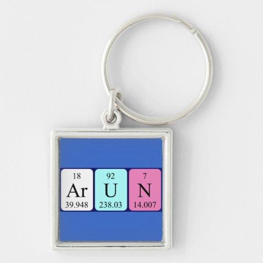 Llavero del nombre de la tabla periódica de Arun