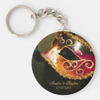 Llavero del oro del favor del boda de la mascarada
