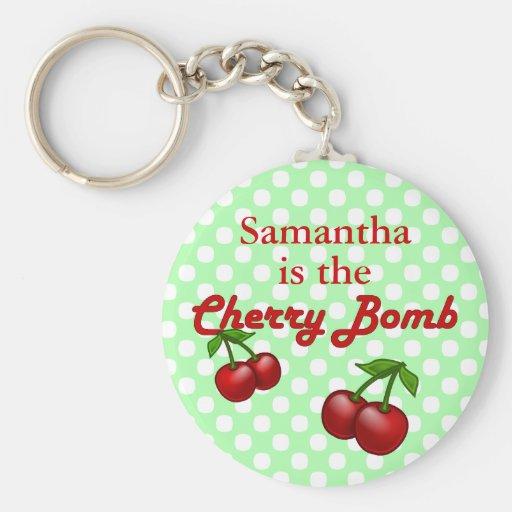 Llavero del personalizado de la bomba de cereza