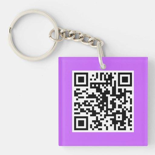 Llavero del personalizado del CÓDIGO de la lila QR