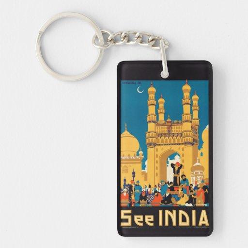 Llavero del poster del viaje de la India