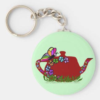 Llavero del pote del té de las flores de mariposa