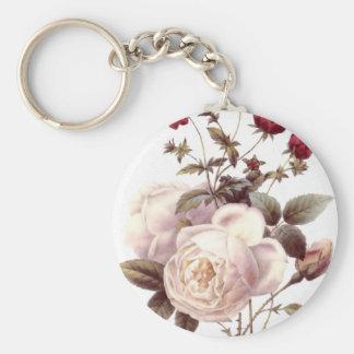 Llavero del ramo del rosa blanco del vintage
