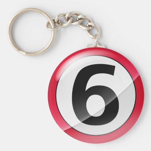Llavero del rojo del número 6