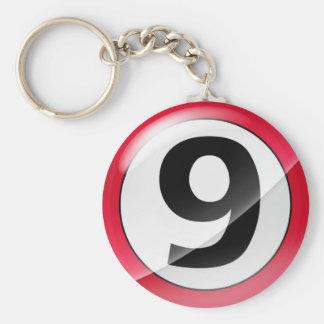 Llavero del rojo del número 9