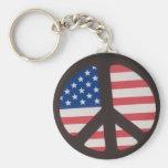 Llavero del signo de la paz de la bandera american