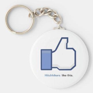 Llavero del símbolo de Facebook del autostopista
