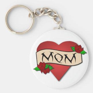 Llavero del tatuaje del corazón de la mamá
