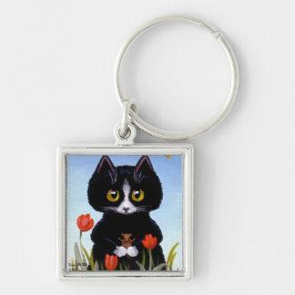 Llavero del tulipán del ratón del gato negro por C