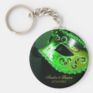 Llavero del verde del favor del boda de la mascara