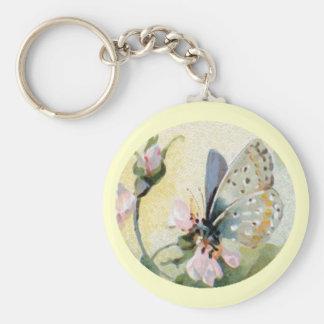 Llavero del vintage de las flores de mariposa