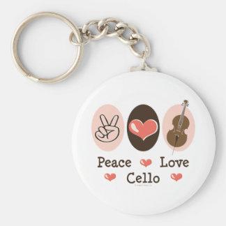 Llavero del violoncelo del amor de la paz