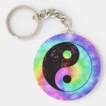 Llavero descolorado de Yin Yang del arco iris