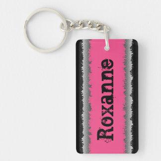Llavero destrozado gris negro rosado adaptable