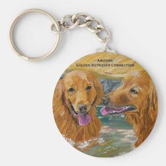 Llavero divertido de los perros perdigueros de oro