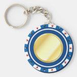 Llavero dorado azul de la ficha de póker