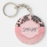 Llavero elegante rosado de lujo del damasco
