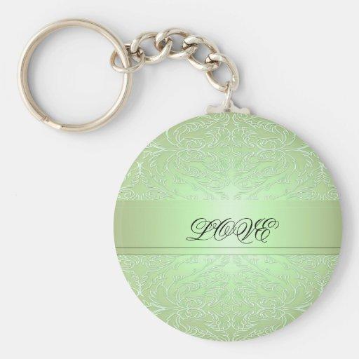 Llavero elegante verde de lujo del damasco