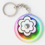 Llavero en colores pastel de la flor del arco iris