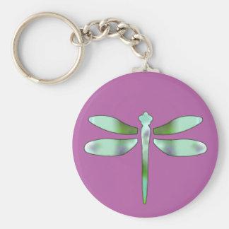 Llavero en colores pastel y rosado de la libélula