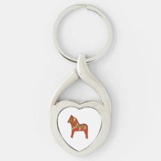 Llavero en forma de corazón del caballo de Dala Llavero Plateado En Forma De Corazón