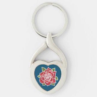 Llavero en forma de corazón romántico del rosa llavero plateado en forma de corazón