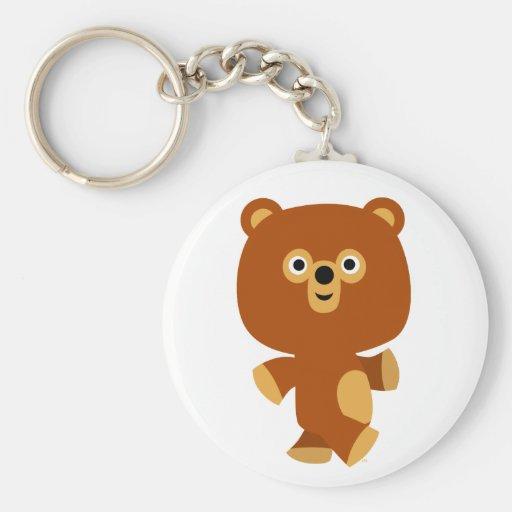 Llavero enérgico lindo del oso del dibujo animado