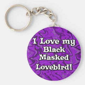 Llavero enmascarado negro púrpura loco del Lovebir