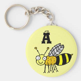 Llavero enrrollado A del monograma de la abeja de