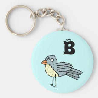 Llavero enrrollado B del monograma del pájaro de l