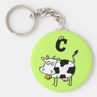 Llavero enrrollado C del monograma de la vaca de l