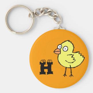 Llavero enrrollado H del monograma del polluelo de