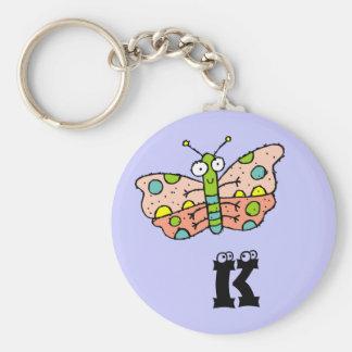 Llavero enrrollado K del monograma de la mariposa