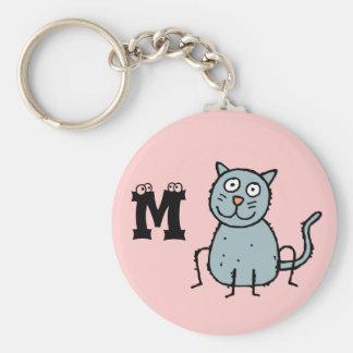 Llavero enrrollado M del monograma del gato de la